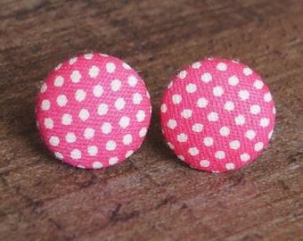 Pink and White Polka Dot Fabric Button Stud Retro Earrings