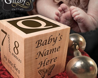 Personalized New Baby birth announcement Custom Engraved wooden baby block for newborn boys and girls Custom engraved Love at First Sight