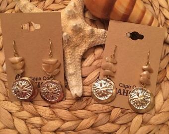 Sand dollar ,Triple Pebble Earrings, Coastal,Beach,Sea,Nautical,Jewelry