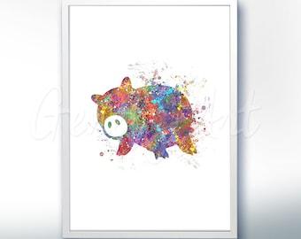 Disney Pixar Toy Story Hamm Piggy Bank Watercolor Poster Print - Watercolor Painting - Watercolor Art - Kids Decor- Nursery Decor