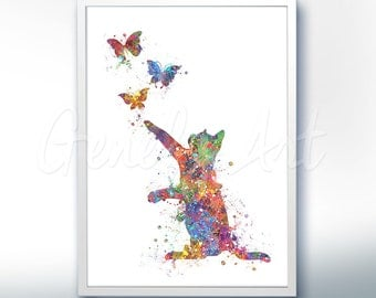 Cat and Butterflies Watercolor Art Print  - Watercolor Painting - Cat Watercolor Art Painting - Cat Poster - Home Decor -House Warming Gift