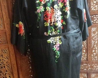 Vintage Golden Bee Silk Robe