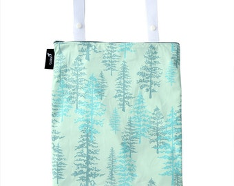 Ready to ship - Wet bag with 2 straps, zipper and PUL liner - spruce