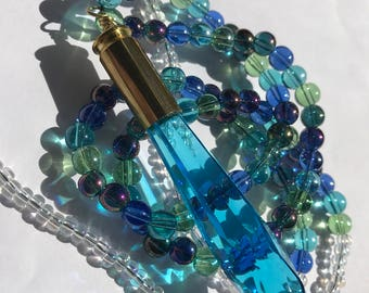 Aqua beaded crystal bullet necklace