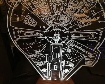 Star Wars Art LED Sign Millenium Falcon
