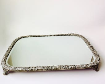 Vintage Footed Mirror Pedestal Stand/Footed Mirror Tray/Footed Vanity Tray/Vintage Vanity Tray/Pedestal/Fancy Stand