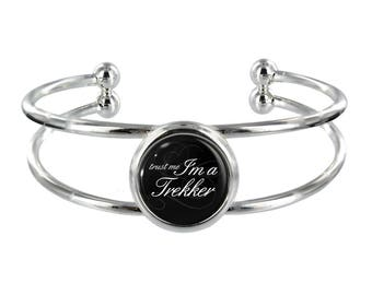Trust Me I'm A Trekker On Silver Plated Bangle in Organza Gift Bag