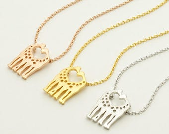 Love Giraffe Necklace / giraffe couple, double giraffes, heart necklace, animal jewelry, lovey dovey couple / N0-44