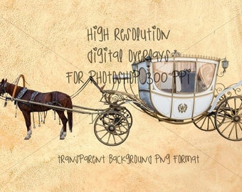 Princess horse and carriage digital overlay, high resolution, transparent background INSTANT DOWNLOAD