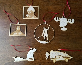 Laser Cut Wood Lampoon's Christmas Vacation Ornament Set - 6 Pieces