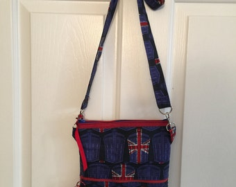 Dr. Who British Flag Cross Body Sling Tote