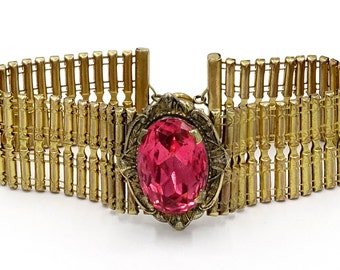Unusual Pink Stone Gold Plated Brass Flexible Bracelet Circa 1930's