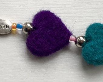 Handmade felted hearts charm