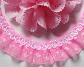 1 inch wide Pink Ruffled Lace trim 1 yard and 5 inch cut
