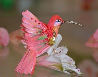 brooch textile bird - Hummingbird jewelry-  accessories - Ilona Loik
