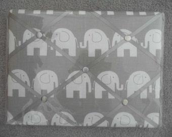 Hand Made Elephant Design Fabric Memo Board.