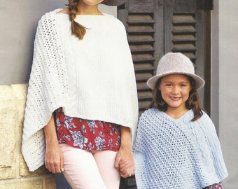Childrens and Adults Poncho Knitting Pattern. 4 - 12years and adult.