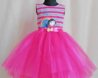 Dora Hot Pink Birthday Dress, Dora Girls Clothing, Dora Party Dress