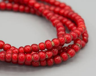 """Red Whiteheart Beads - African Trade - 6-8MM 22"""" Strand"""