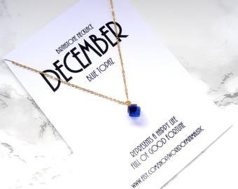 DECEMBER birthstone necklace, Christmas gift, birthday gift, birthstone jewelry, minimalist gold necklace, dainty delicate jewelry