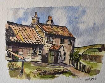 watercolour ink landscape original painting paper signed farmhouse