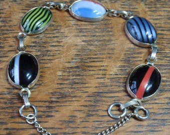 Vintage Art Glass Link Bracelet
