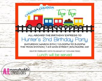 Train Birthday Invitation, Second Birthday Invitation, Boy Birthday Invitation, Chugga Chugga Two Two, Train Birthday Party, Digital File