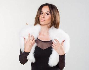 White Fox Fur Collar ,Real Fox Fur, Neckwearing, Fur Shawl