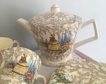 Reduced !! Beautifull Crinoline Lady tea set / morley ware england / gold chintz crinoline lady