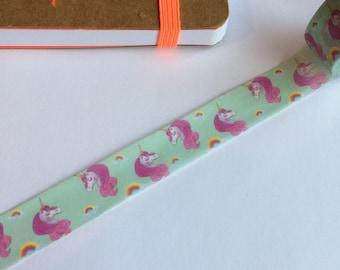 Unicorn washi tape, unicorn washi, unicorn tape, green, mythical washi, princess washi, horse washi, girl washi, fantasy washi, unicorns