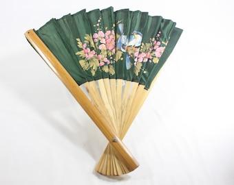 Vintage Bamboo Green Asian Blue Birds Wall Fan Made in Taiwan