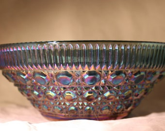 Blue Iridescent Serving Bowl * Indiana Glass Company * Blue Windsor Pattern