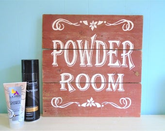 Powder Room Rustic Bathroom Sign//Cottage//Barn//Restroom//Decor//Antique//Home//Housewarming Gift//Classic//Mothers Day//Cute