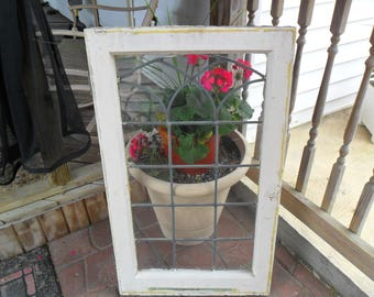 Old Lead Glass Window in Sash~Original Hardware~Chippy Paint~Architectural Salvage~38 x 23