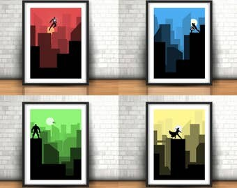 The Avengers Inspired Art Prints Set Of 4 - Captain America, Iron Man, The Incredible Hulk, Thor, Boys Room Decor, Home Decor, A4 in size