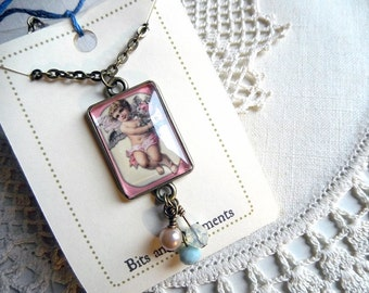 Pink Cherub Necklace, Romantic Victorian Pendant