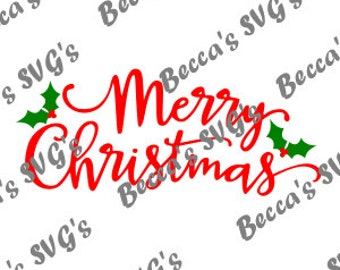 "2 Color/Layer ""Merry Christmas"" SVG"