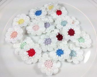 18 Crochet Flowers Appliques  Pastel Flowers Crochet Appliques Set of 18 Pz Crochet  Flowers  Crochet Scrapbooking Crochet Applique 9 petals