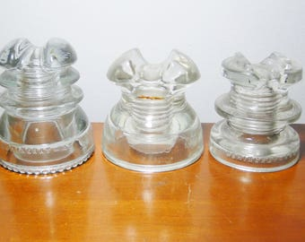 3 Scarce Hemingray Glass Insulators - #43 - #C2 - #660 - Very Nice!