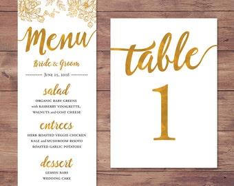 Wedding menu and table numbers 1 - 50 - custom matching set - PRINTABLE - 4x9 and 5x7
