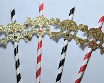 Pirate Straw Decorations, Pirate Party Decorations, Gold Pirate Party Decorations, Pirate Straw Favours, Boy Birthday Party Decorations