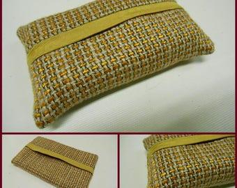 Reversible  Modern  Pocket Tissue Cover- Tissue holder  Fabric - Saffron- Linen - ref 27s