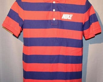 Vintage NIKE Pink / Purple Stripped Polo Collared Dress Shirt ! Very Nice