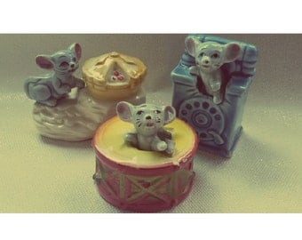 Vintage 'Mouse in a...' trio of ceramic ornaments