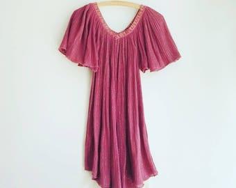 Vintage indian cotton seventies hippie boho top tunic dress S