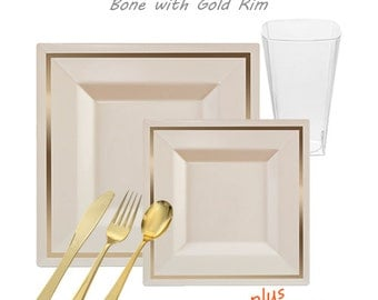 Imperial VALUE Party Package - Square Ivory with Gold Rim Dinner Settings