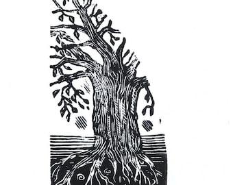 Tree print, small print, tree engraving, black and white print
