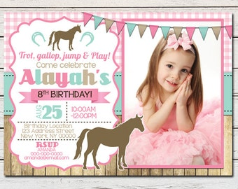 Horse Pony Stable Riding Girl Printable Birthday Photo Invitation - DIY - PDF & JPG Files only