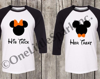 Disney halloween couple shirt His trick her treat disney halloween shirts  Mickey's not so scary halloween shirt disney halloween matching