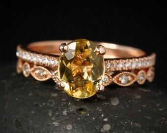 Oval Golden Beryl Engagement Ring - Diamond Wedding Band - Vintage Inspired Bridal Set